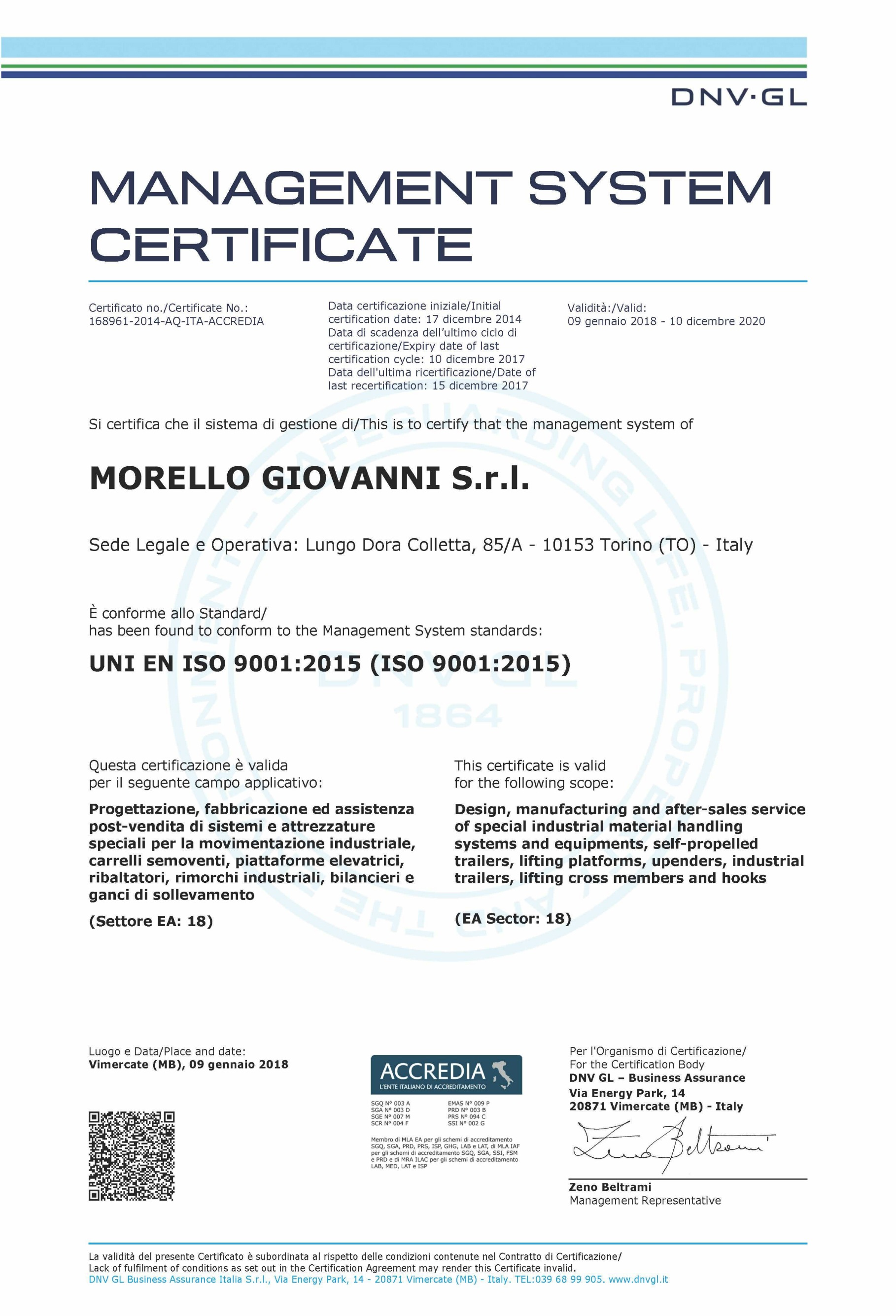 Certifications Integrated Management System Morello